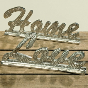 Napis  LOVE metal glamour silver